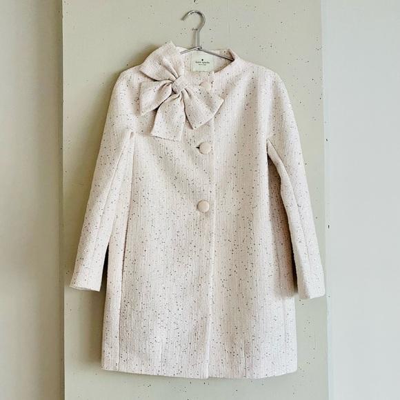 Kate Spade Dorothy Bow Sparkle Tweed Coat Sz 4